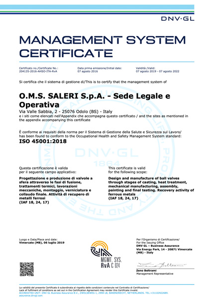 Certificato 45001